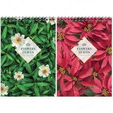 "Блокнот А5 80л. на гребне ArtSpace ""Цветы. Leaves & Flowers"", твердая подложка"