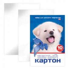 Картон белый А4 МЕЛОВАННЫЙ, 10 листов, в папке, HATBER VK, 205х295 мм, Белый щенок