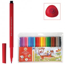 Фломастеры KOH-I-NOOR, 24 цвета, смываемые, трехгранные, пластиковая упаковка