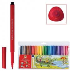 Фломастеры KOH-I-NOOR, 30 цветов, смываемые, трехгранные, пластиковая упаковка