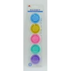 Магнит 4см 5шт BASIR круглый цветные прозр