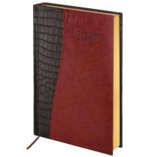 """Ежедневник датированный 2020 А5 (138х213 мм) BRAUBERG """"Cayman"""", комбинированная кожа, крем блок, золотой срез, черный с коричневым, 129687"""