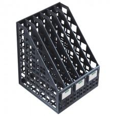 Лоток вертикальный для бумаг СТАММ (245х240х300 мм), 6 отделений, сетчатый, сборный, черный