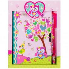 "Записная книжка 7БЦ А6 64л. ArtSpace ""Sweet owl"" метал. замок + ручка шарик., блестки, подар.уп."