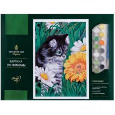 """Картина по номерам Greenwich Line """"Котик в цветах"""" A3, с акриловыми красками"""