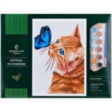 """Картина по номерам Greenwich Line """"Кот и бабочка"""" A3, с акриловыми красками"""