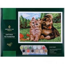 """Картина по номерам Greenwich Line """"Пушистые друзья"""" A3, с акриловыми красками, картон"""