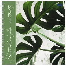 """Скетчбук-тетрадь 60л 210*210мм на гребне Hatber """"Тропические листья"""", 120г/м2, с твердой обложкой"""