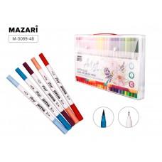 Акварельные маркеры художественные двусторонние Набор 48 цветов MAZARI Artist (круглый корпус) (вентилируемый колпачок)