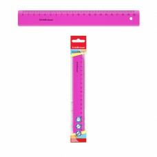 Линейка 20 см, пластик, NEON, цвет розовый