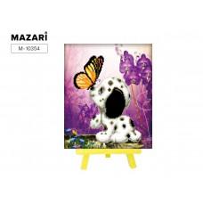 Набор для творчества Алмазная Мозаика (Животный мир) 21*25см MAZARI С Мольбертом (Частичная выкладка) Стразы-камешки Далматинец с бабочкой (п/упаковка)