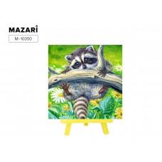Набор для творчества Алмазная Мозаика (Животный мир) 21*25см MAZARI С Мольбертом (Частичная выкладка) Стразы-камешки Енот на ветке