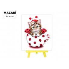 Набор для творчества Алмазная Мозаика (Животный мир) 21*25см MAZARI С Мольбертом (Частичная выкладка) Стразы-камешки Кот-Божья коровка