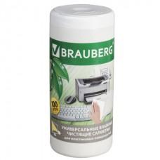 """Чистящие салфетки BRAUBERG """"Power Clean"""", в тубе, 100 шт., влажные, для пластика, 510123"""