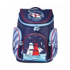 Ранец жесткокаркасный BRAUBERG для учеников начальной школы, Корабль, 14 литров, 38х29х19 см, 226324