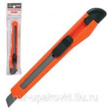 Нож канцелярский STAFF 9мм, фиксатор, цв.корп. ассорти, упак. с европодвесом