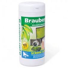 """Чистящие салфетки BRAUBERG """"Screen Clean""""в тубе 100шт для экранов мониторов и оптич. поверх."""