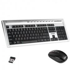 Набор беспроводной SONNEN KB-S140, клавиатура, мышь 2кнопки+1колесо-кнопка, серебристый