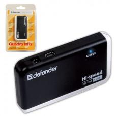 разветвитель DEFENDER QUADRO INFIX, USB 2.0, 4 порта, порт для питания