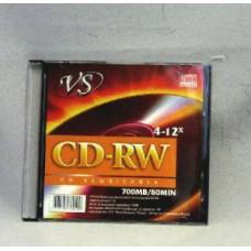 К/диск CD-RW 1шт.VS80 700Mb.4-12x.Slim