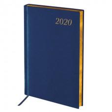 Ежедневник датированный 2020 А5, BRAUBERG Iguana, под кожу рептилий, зол.срез, синий