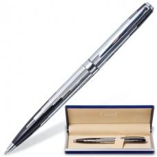 """Ручка подарочная шариковая GALANT """"Offenbach"""", корпус серебристый с черным, хромированные детали, пишущий узел 0,7 мм, синяя"""