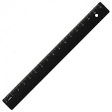 Линейка пластиковая 16 см, СТАММ, непрозрачная, черная