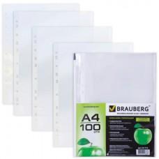Папки-файлы перфорированные BRAUBERG, КОМПЛЕКТ 100шт., А4, гладкие, яблоко, 0,035 мм