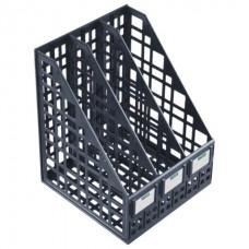 Лоток вертикальный для бумаг СТАММ ширина 240 мм, 3 отделения, сетчатый, сборный, черный