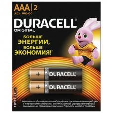 Батарейки DURACELL Basic, AAA (LR03, 24А), алкалиновые, КОМПЛЕКТ 2 шт., в блистере (отрывной блок)