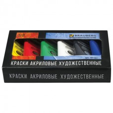 Краски акриловые художественные BRAUBERG ART CLASSIC, НАБОР 6 цветов по 75 мл, в тубах, 191121