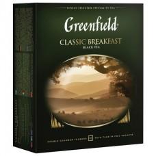 """Чай GREENFIELD (Гринфилд) """"Classic Breakfast"""", черный, 100 пакетиков в конвертах по 2"""