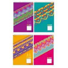 Блокнот на гребне А6. 80л клетка BG. Multicolor Ассорти