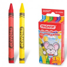 Восковые карандаши ПИФАГОР, 18 цветов, 222963