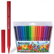 """Фломастеры BRAUBERG (БРАУБЕРГ) """"Wonderful butterfly"""", 18 цветов, вентилируемый колпачок, пласт. упаковка, увеличенный срок службы"""