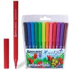 """Фломастеры BRAUBERG (БРАУБЕРГ) """"Wonderful butterfly"""", 12 цветов, вентилируемый колпачок, пласт. упаковка, увеличенный срок службы"""