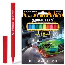 """Фломастеры BRAUBERG """"InstaRacing"""", 12 цветов, вентилируемый колпачок, карт. упаковка, выборочный лак, увел. срок службы"""