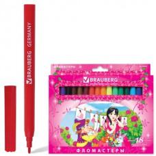 """Фломастеры BRAUBERG (БРАУБЕРГ) """"Rose Angel"""", 18 цветов, вентилируемый колпачок, картонная упаковка, увеличенный срок службы"""