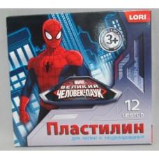 Пластилин 12 цветов 240гр LORI Человек-паук со стеком