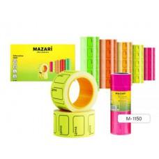 Ценники самоклеящиеся цветные в рулоне MAZARI. 20*30. 220шт*5. ассорти