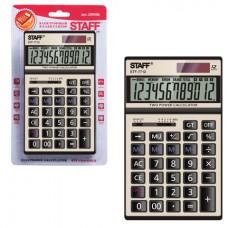 Калькулятор STAFF настольный металлический STF-7712-GOLD, ЗОЛОТИСТЫЙ, 12 разрядов, 179х107 мм