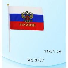 Флаг России 14*21см. BASIR. Герб. ручка. шелк