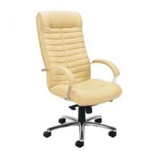 "Кресло руководителя ""Orion steel chrome"", кожа, хром, бежевое"