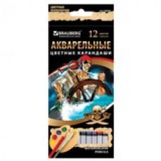 """Карандаши цветные акварельные BRAUBERG """"Корсары"""", 12 цветов, заточенные, картонная упаковка, 180566"""
