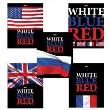 "Тетрадь 48 л., HATBER, клетка, выборочный лак, ""White Blue Red"" (""Флаги"")"