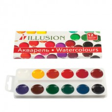 """Краски акварельные ГАММА """"Illusion"""", 12 цветов, медовые, без кисти, картонная коробка 190826"""