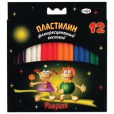"""Пластилин восковой флуоресцентный ГАММА """"Флюрики"""", 12 цветов, 153 г, со стеком"""