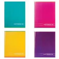 """Тетрадь 96 л. STAFF, офсет №2, 60 г/м2, клетка, обложка мелованный картон, """"Однотонная"""", 4 вида"""