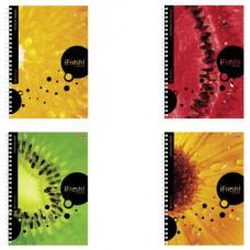 Тетрадь 80 л., А4 HATBER, гребень, клетка, обложка мелованный картон, iFRESH