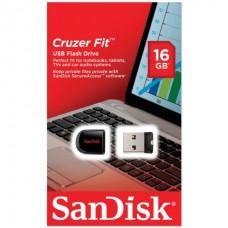 Флэш-диск 16GB, SANDISK Cruzer Fit, USB 2.0, черный, SDCZ33-016G